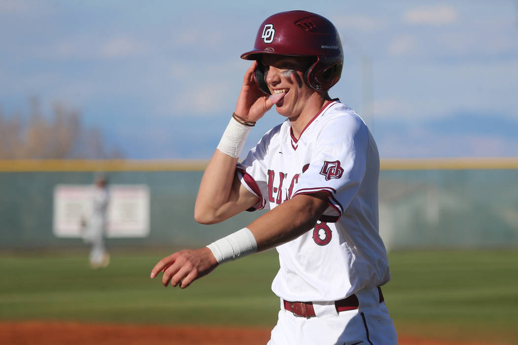 Desert Oasis' Zac Czerniawski (8) reacts after a single hit against Palo Verde in the baseball game at Desert Oasis High School in Las Vegas, Tuesday, March 12, 2019. Erik Verduzco Las Vegas Revie ...