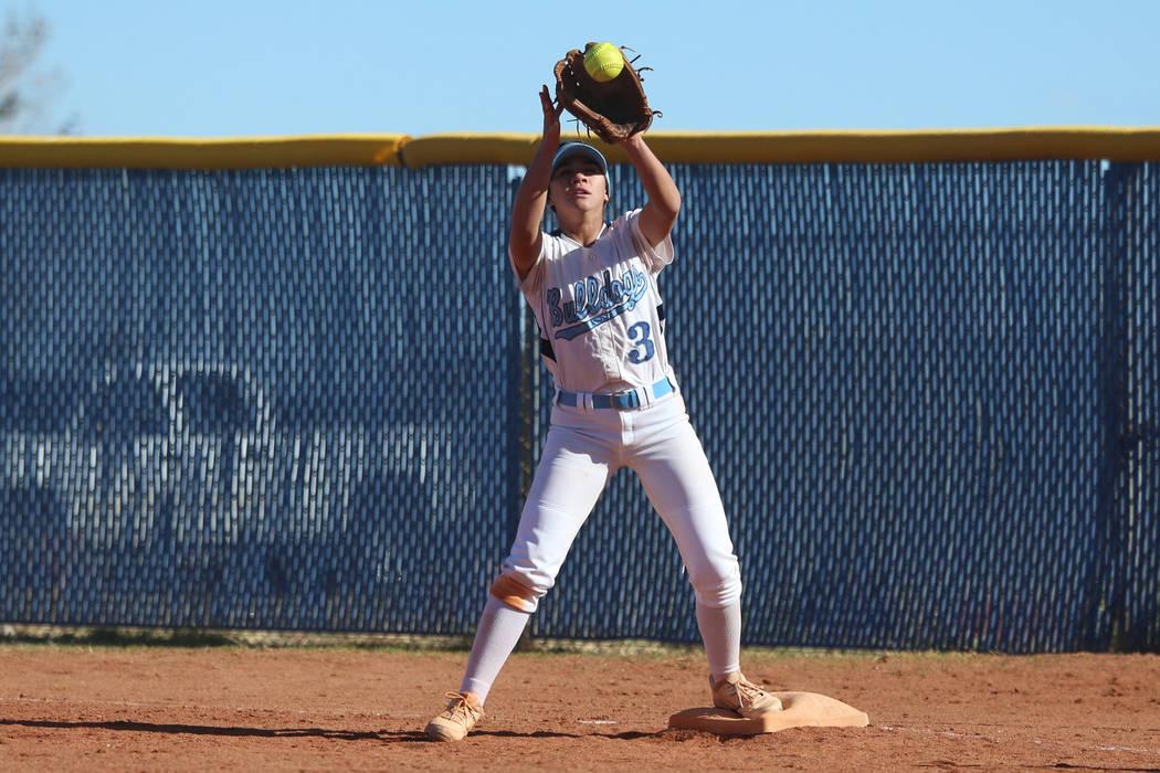 Centennial's Natasha Lawrence (3) makes a catch at first base for an out against Coronado in the softball game at Centennial High School in Las Vegas, Wednesday, March 13, 2019. Erik Verduzco Las ...