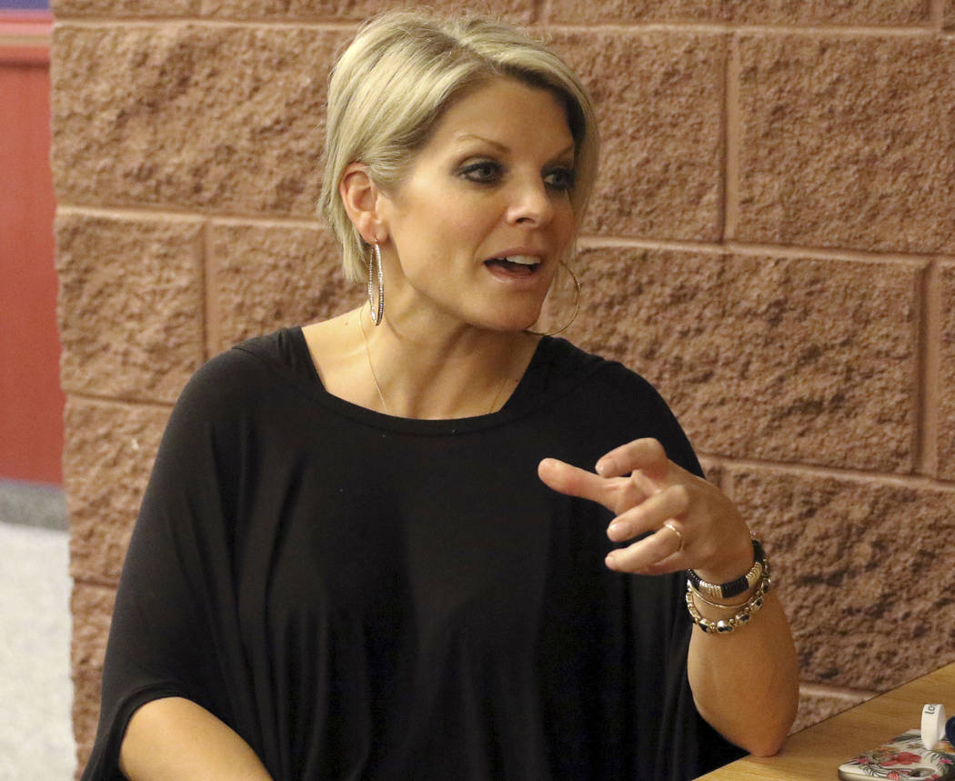 American Preparatory Academy director Rachelle Hulet responds to a question about the hiring of athletic director Dave Bliss during an interview on the school's campus in Las Vegas, Thursday, Jan. ...