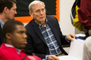 David Bliss, Calvary Chapel boys basketball coach and athletic director, during the Nevada Interscholastic Activities Association realignment committee meeting at Chaparral High School in Las Vega ...