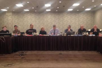 The Nevada Interscholastic Activities Association's board of control discusses an agenda item during its meeting Thursday, March 14, 2019 at Palace Station in Las Vegas. Bartt Davis/Las Vegas Revi ...