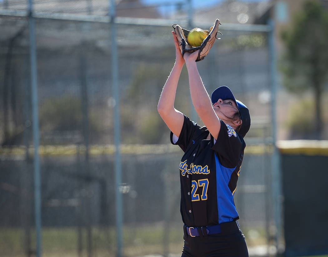Sierra Vista's Jessica Schneider (27) catches a ball in the first inning of a softball game against at Palo Verde High School in Las Vegas, Thursday, March 14, 2019. (Caroline Brehman/Las Vegas R ...