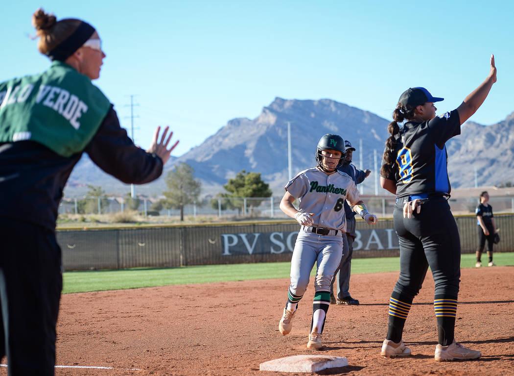 Palo Verde's Alyssa Lybbert (6) runs into third base in the fixth inning of a softball game against at Palo Verde High School in Las Vegas, Thursday, March 14, 2019. (Caroline Brehman/Las Vegas Re ...