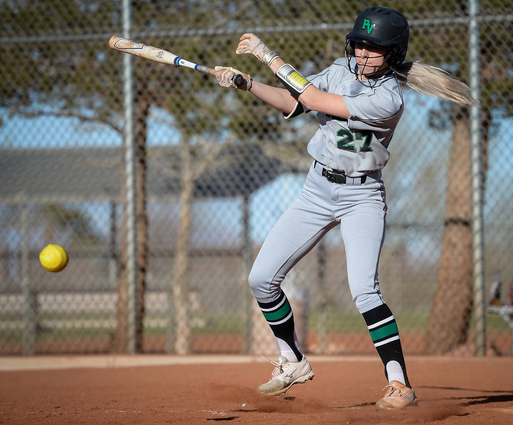 Palo Verde's Camden Zahn (27) hits a pitch in the sixth inning of a softball game against at Palo Verde High School in Las Vegas, Thursday, March 14, 2019. (Caroline Brehman/Las Vegas Review-Journ ...
