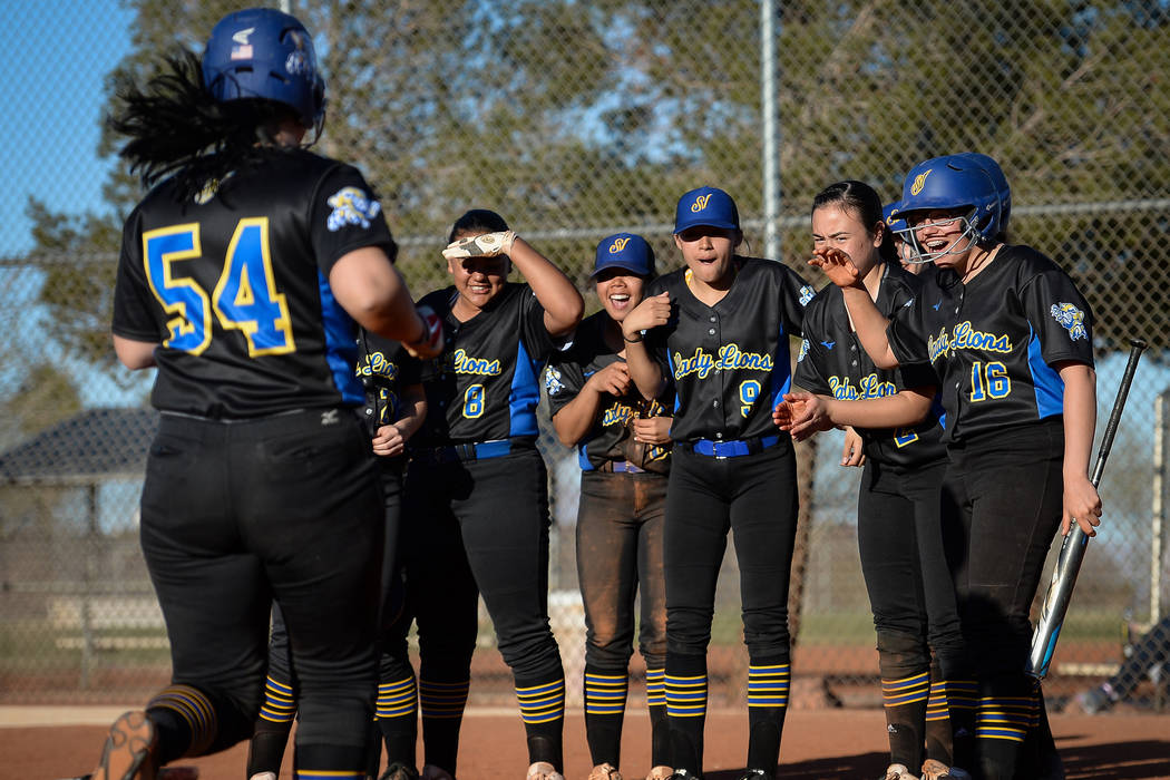 Sierra Vista's Mia Buranamontri (54) runs into home plate after hitting a home run in the seventh inning of a softball game against at Palo Verde High School in Las Vegas, Thursday, March 14, 2019 ...