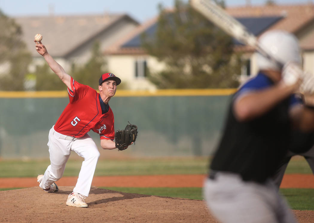 Liberty's Garrett Maloney (5) pitches to Basic's John Howard Bobo (99) in the sixth inning of a baseball game at Liberty High School in Henderson, Tuesday, March 19, 2019. (Caroline Brehman/Las Ve ...