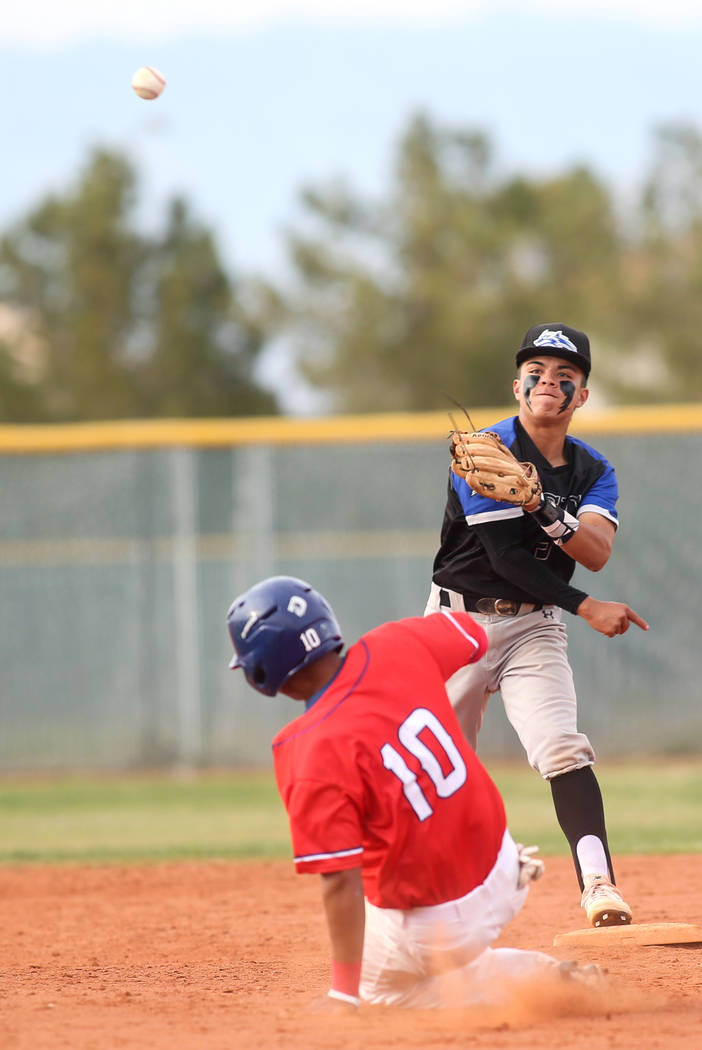 Basic's Dominik Tavares (5) throws the ball to first base as he gets out Liberty's Zanden Shim (10) in the sixth inning of a baseball game at Liberty High School in Henderson, Tuesday, March 19, 2 ...