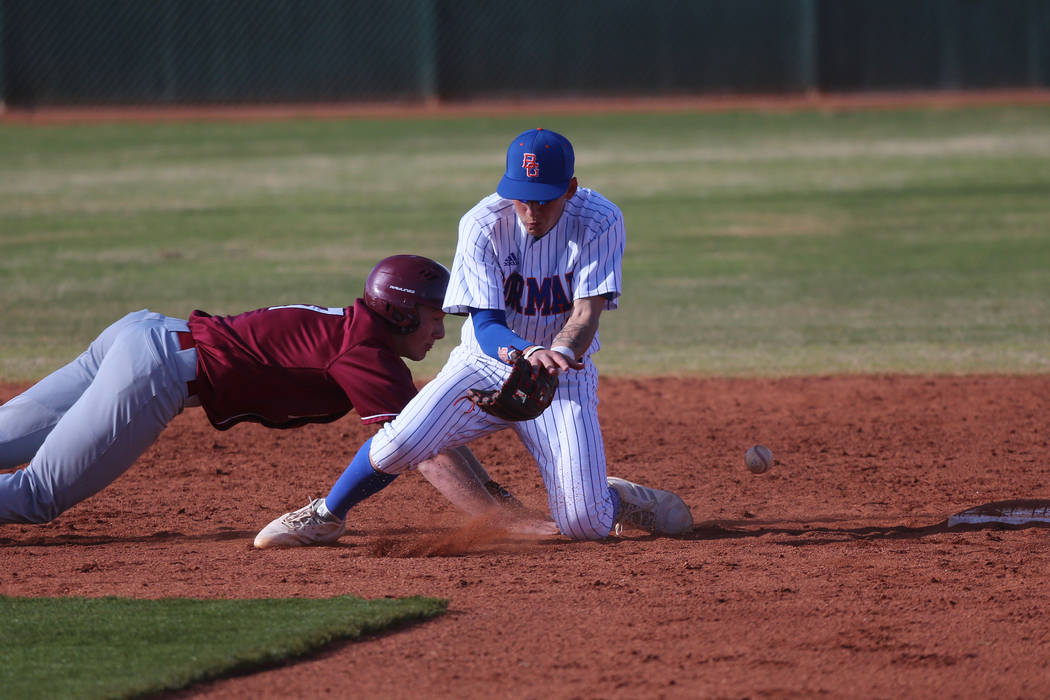 Desert Oasis' Colton Zobrist (7) slides back to second base safely against Bishop Gorman's Cameron Hougham (1), in the baseball game at Bishop Gorman High School in Las Vegas, Thursday, March 21, ...
