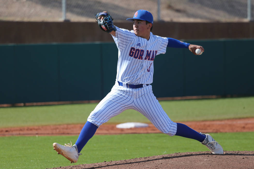 Bishop Gorman's pitcher Noah Glaser (3) pitches against Desert Oasis in the baseball game at Bishop Gorman High School in Las Vegas, Thursday, March 21, 2019. Erik Verduzco Las Vegas Review-Journa ...
