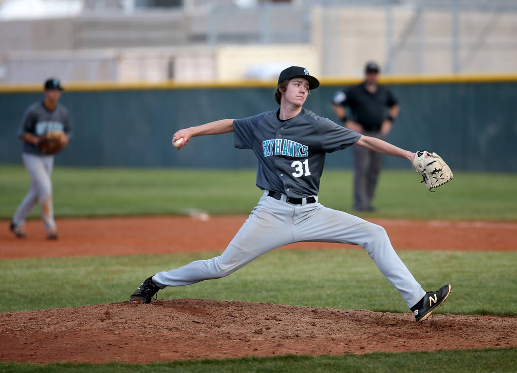 Silverado pitcher Jared Nixon (31) throws against Cimarron-Memorial in the fourth inning of their baseball game at Cimarron-Memorial High School in Las Vegas Friday, March 22, 2019. (K.M. Cannon/L ...