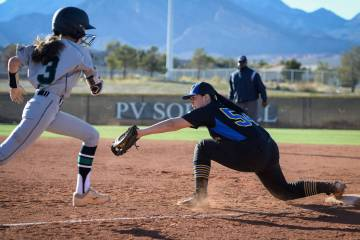 Sierra Vista's Mia Buranamontri (54) catches the ball to force out Palo Verde's Olivia Millsop in the sixth inning of a softball game at Palo Verde High School on Thursday, March 14, 2019. Carolin ...