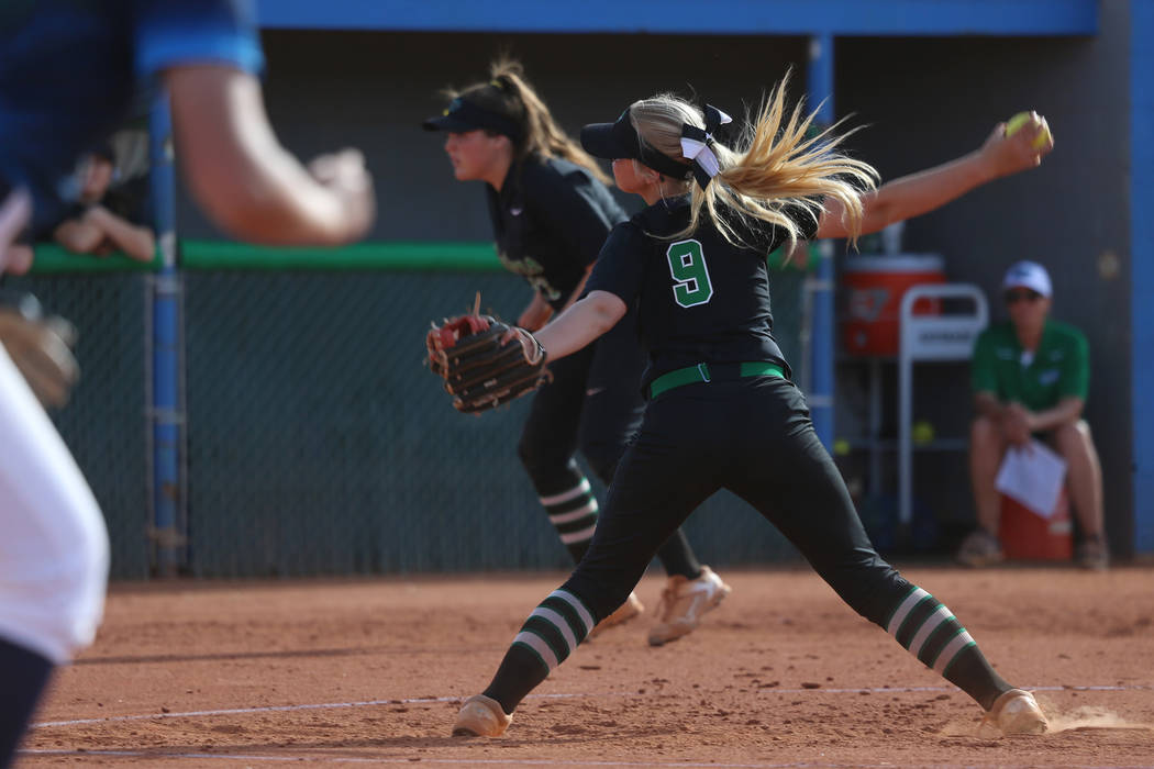 Green Valley's Tiffany Katz (9) pitches against Foothill in the softball game at Green Valley H ...