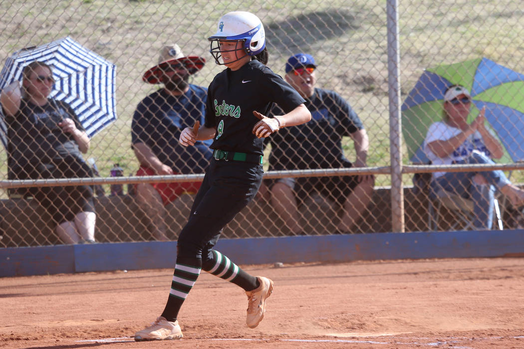Green Valley's Alyssa Vigil (8) runs home for a run against Foothill in the softball game at Gr ...