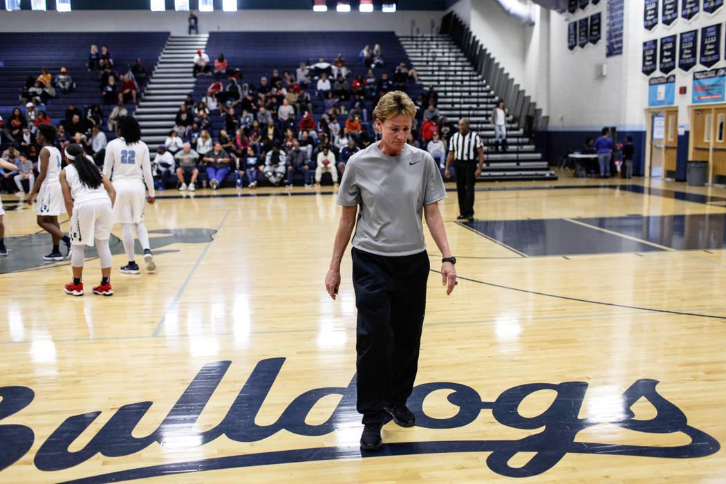 Centennial head coach Karen Weitz takes a moment during the second quarter of the Las Vegas Hol ...