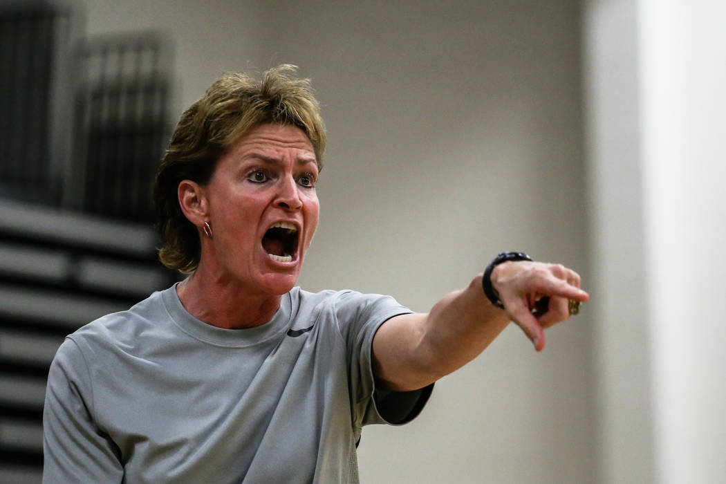Centennial head coach Karen Weitz reacts during the fourth quarter of the Las Vegas Holiday Cl ...