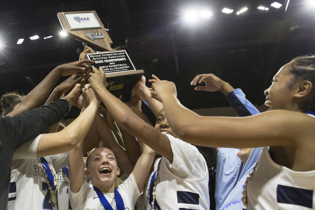 Centennial celebrates after beating Bishop Gorman 78-47 to win the Class 4A girls state champio ...
