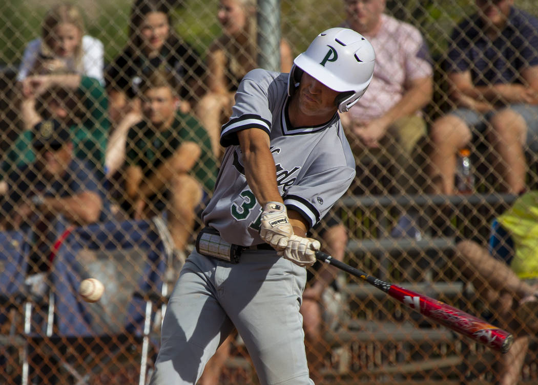 Palo Verde's Austin Raleigh (31) prepares to hit a Faith Lutheran pitch during their high schoo ...