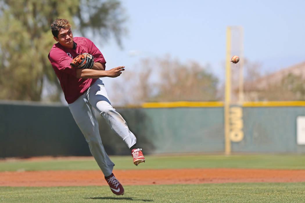 Desert Oasis senior Aaron Roberts, 18, throws a ball to first base during a team practice at De ...