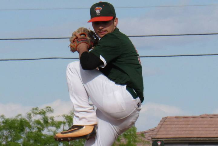Mojave pitcher Mike Cianci tossed a perfect game on Thursday, April 11, 2019 against Del Sol. P ...