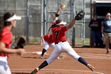 Coronado pitcher Ashley Ward (7) throws against Basic in the first inning of their softball gam ...