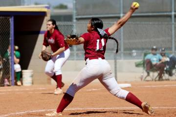 Desert Oasis Jazmyne Compehos (11) pitches against Rancho in the softball game at Durango High ...