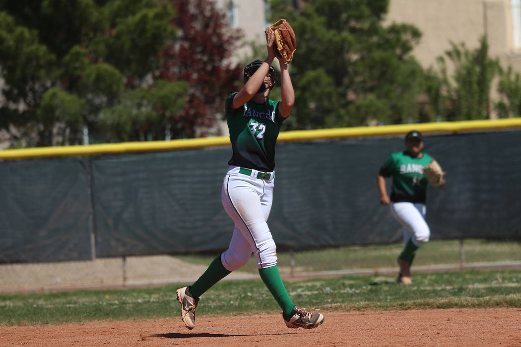 Rancho's Kaitlyn Suarez (32) makes a catch in the outfield against Desert Oasis in the softball ...