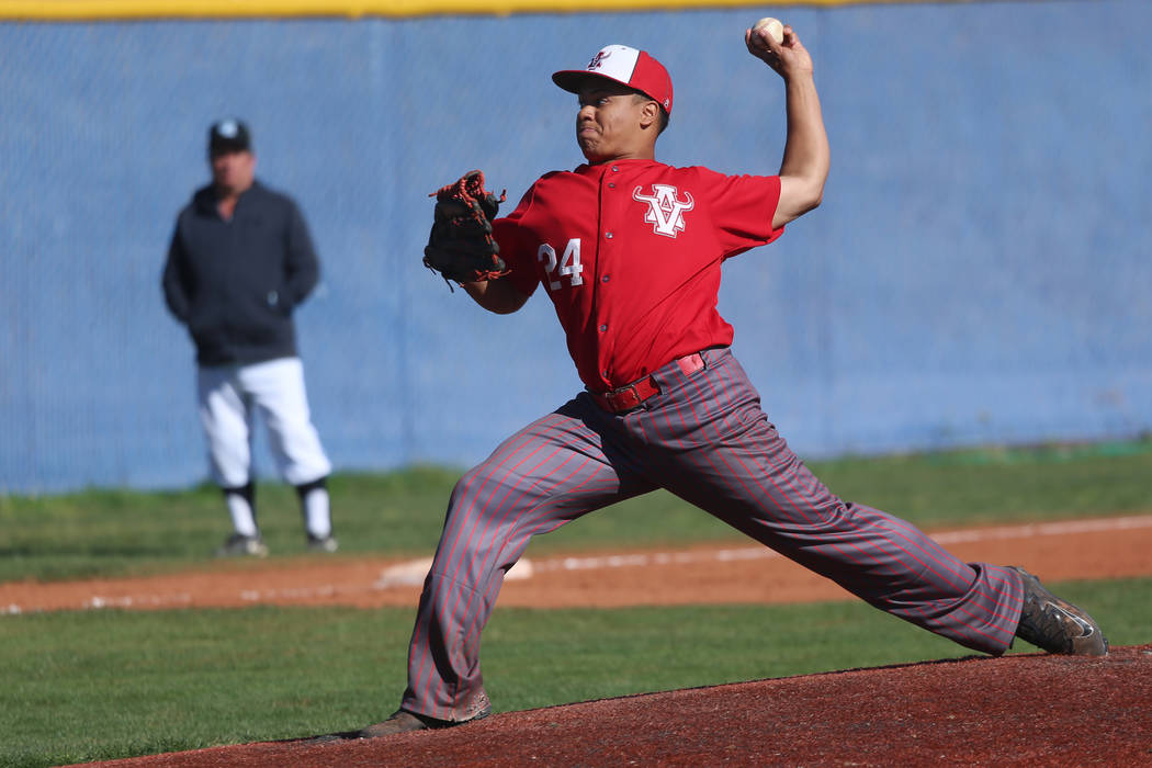 Arbor View's Jalen Haener (24) pitches against Carson in the baseball game at Centennial High S ...