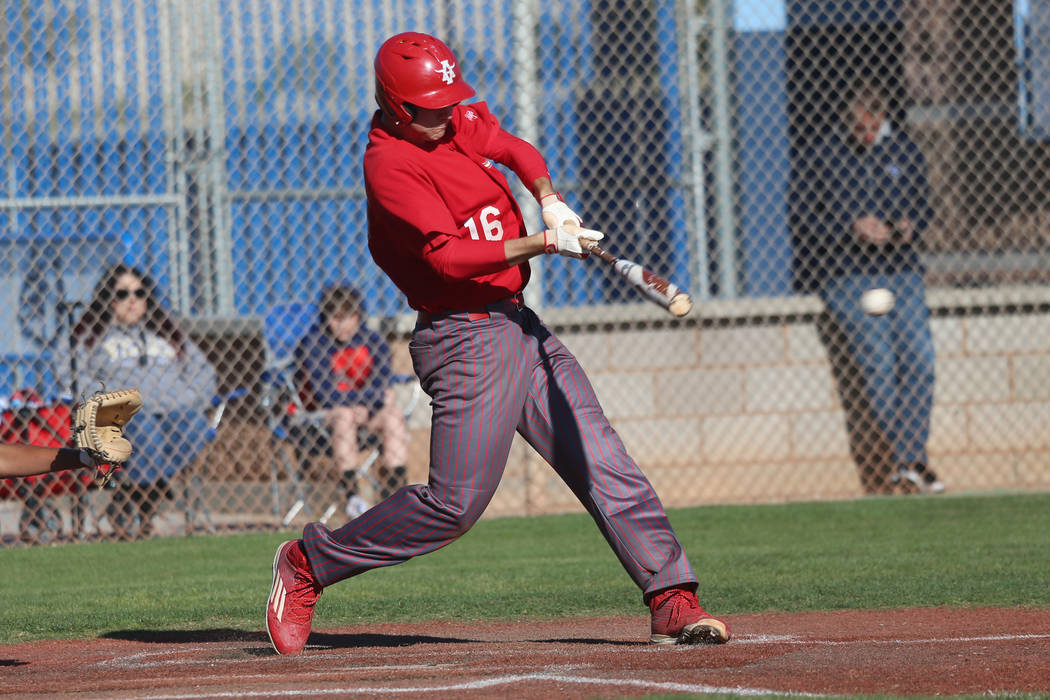 Arbor View's Jacob Scioli (16) connects for a single against Carson in the baseball game at Cen ...