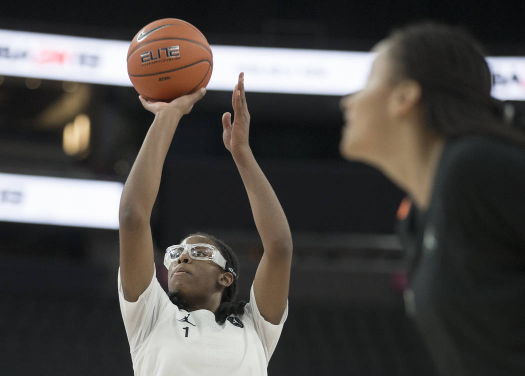 Francesca Belibi (1) shoots a free throw in the fourth quarter during the Jordan Brand Classic ...