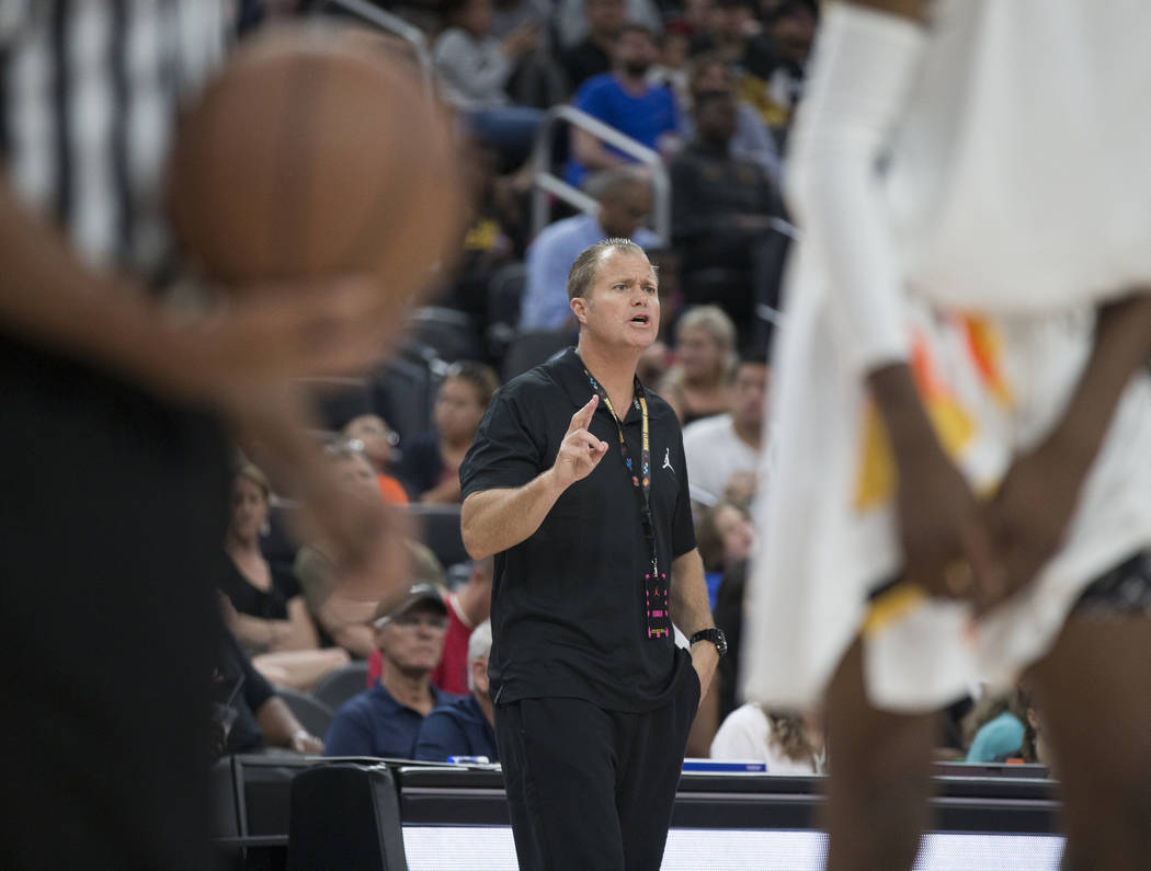 Bishop Gorman coach Grant Rice calls out a play in the second half during the Jordan Brand Clas ...