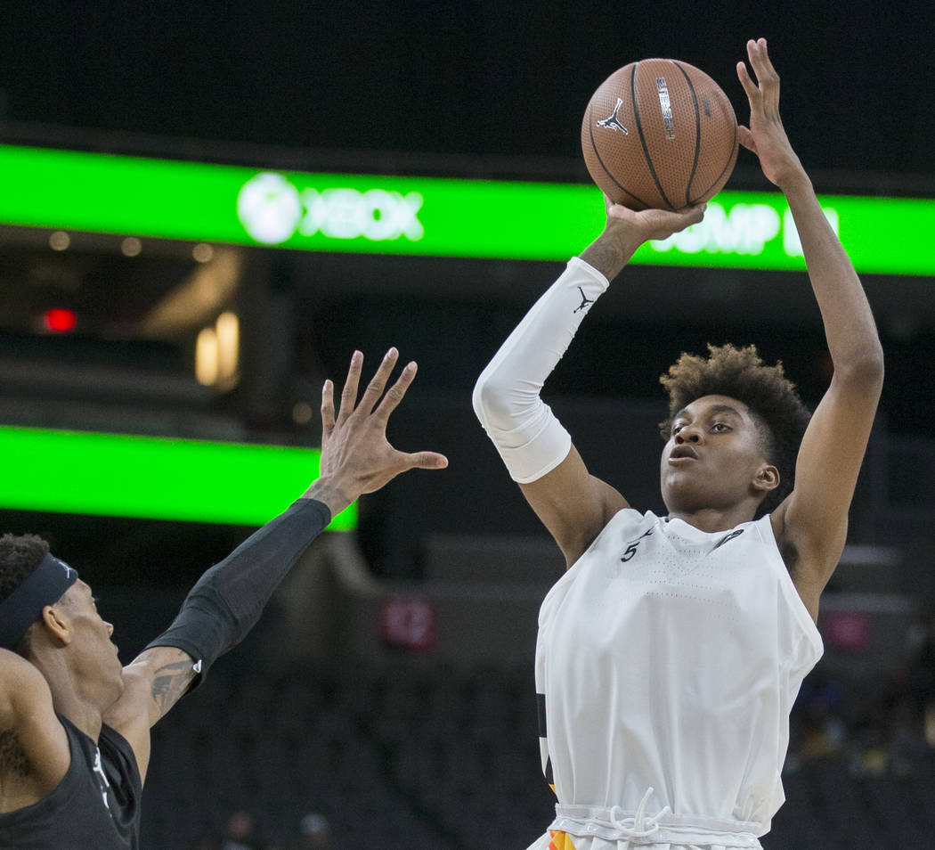 Jaden McDaniels (5) shoots a jump shot in the second half during the Jordan Brand Classic All-A ...