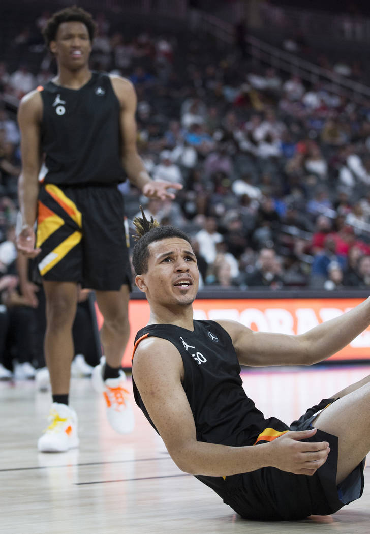 Cole Anthony (50) argues a call in the second half during the Jordan Brand Classic All-American ...