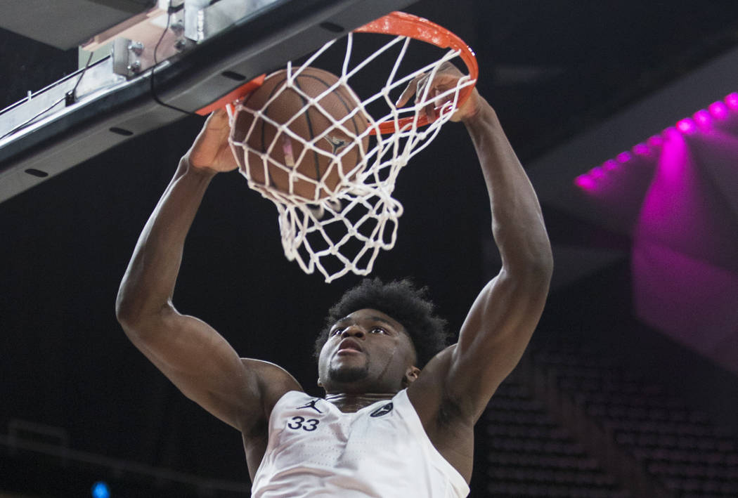 Isaiah Stewart (33) dunks in the second half during the Jordan Brand Classic All-American game ...