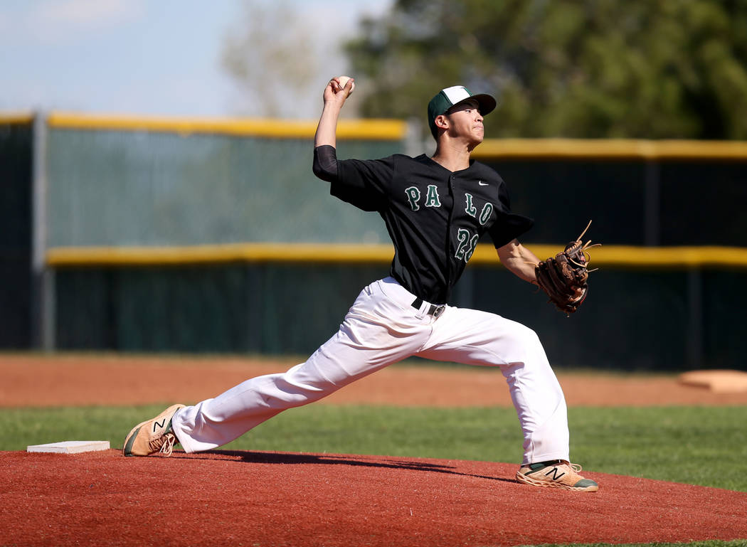 Palo Verde pitcher Noah Carabajal throws against Basic in the second inning of their baseball g ...