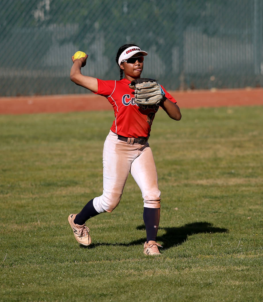 Coronado's Kaila Angel (9) throws in from center field during a softball game against Basic at ...