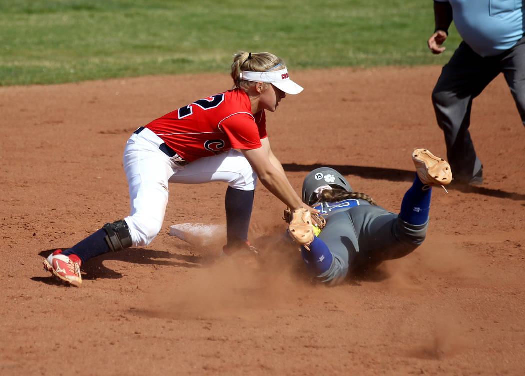 Coronado shortstop Paige Sinicki (12) tags out Basic baserunner Mikayla Berg (15) during their ...