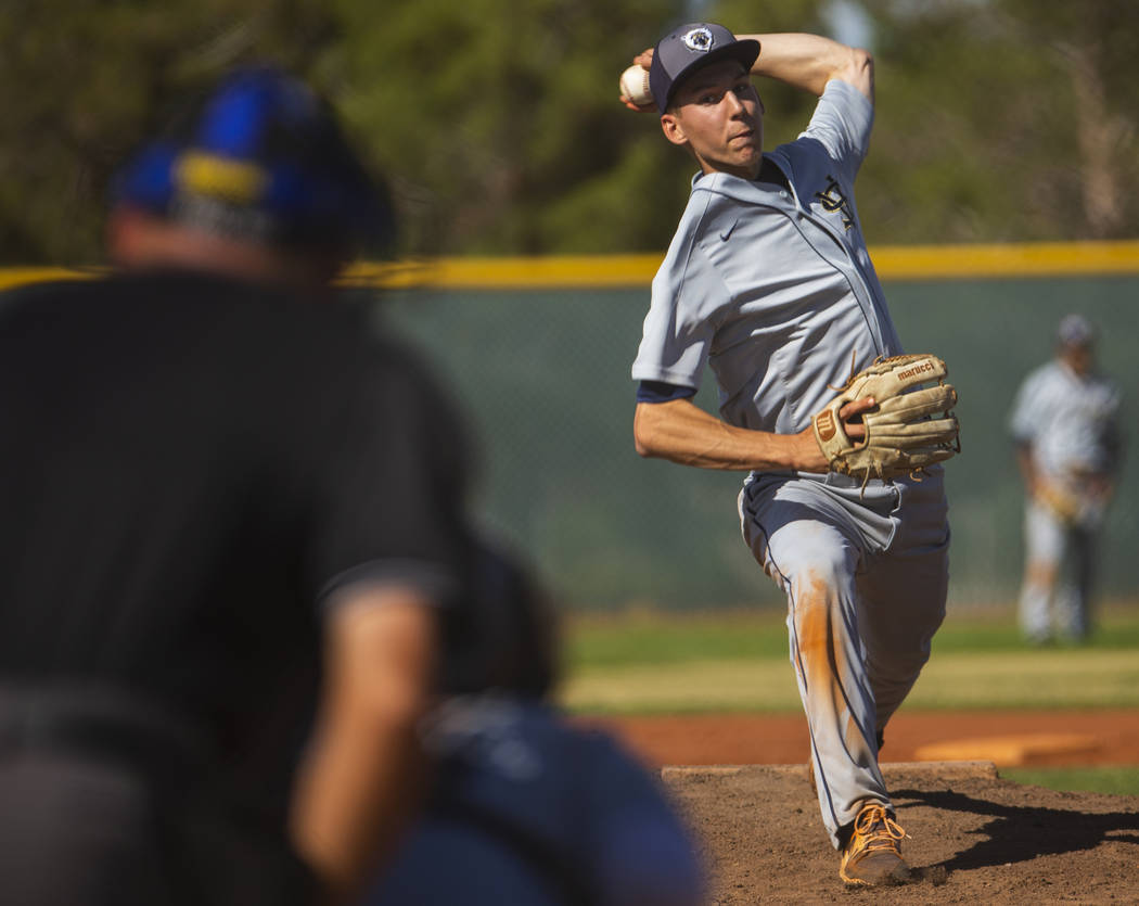 Spring Valley pitcher Braxton Bruschke sends a throw towards a Liberty batter in the first roun ...