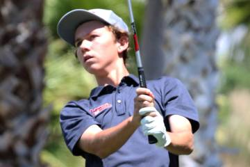 Coronado High's Brett Sodetz watches his drive during the Nevada State High School Regional Gol ...