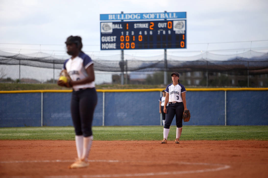 Shadow Ridge High School's Caitlin Covington (3) waits for the pitcher Jasmine Martin (8) to wi ...
