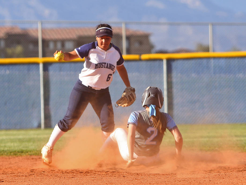 Shadow Ridge High School's Angelina Esqueda (6) attempts to tag out Centennial High School's Ry ...