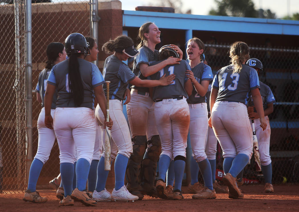 Centennial High School's Jacqueline Perez Mena (11) is applauded by teammates after they evened ...