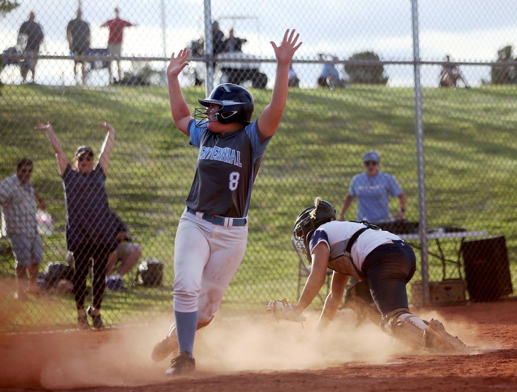 Centennial High School's Ashlynn Heck (8) makes a home run, winning the game 3-2 against Shadow ...
