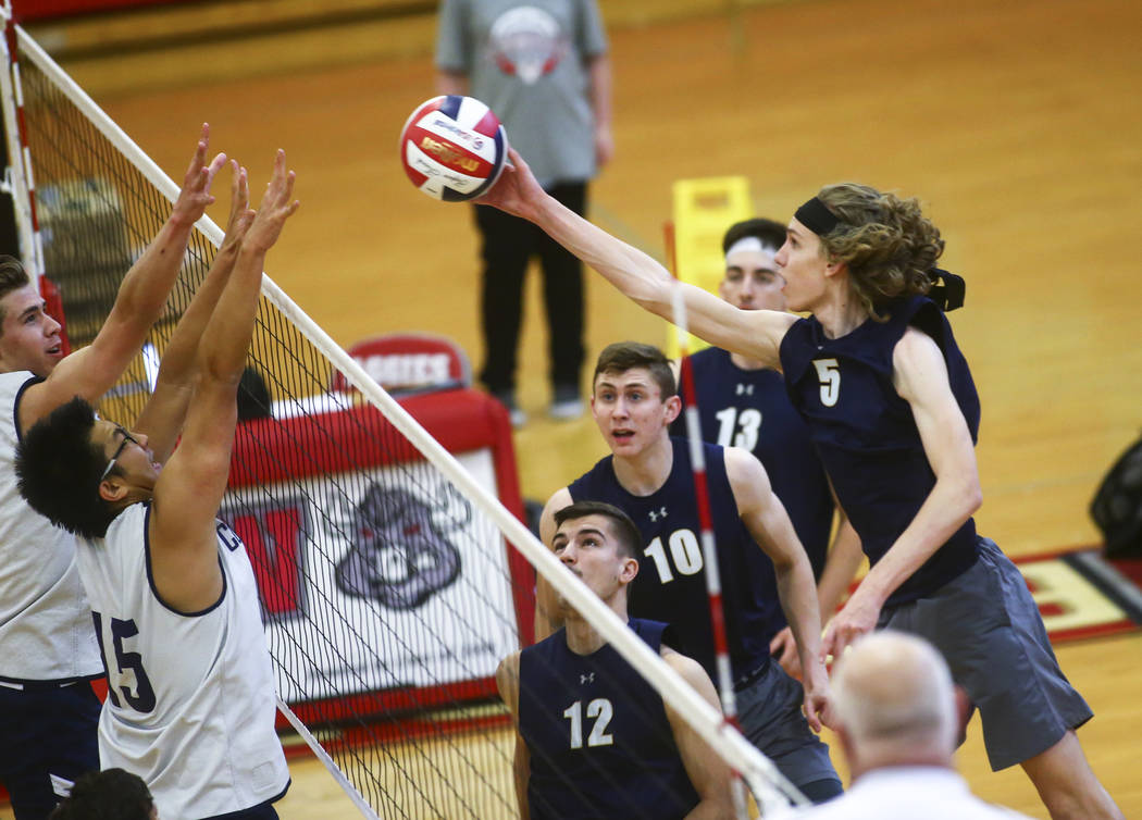 Foothill's Brock Weaver (5) sends the ball past Coronado's Justin Fan (15) during the Desert Re ...