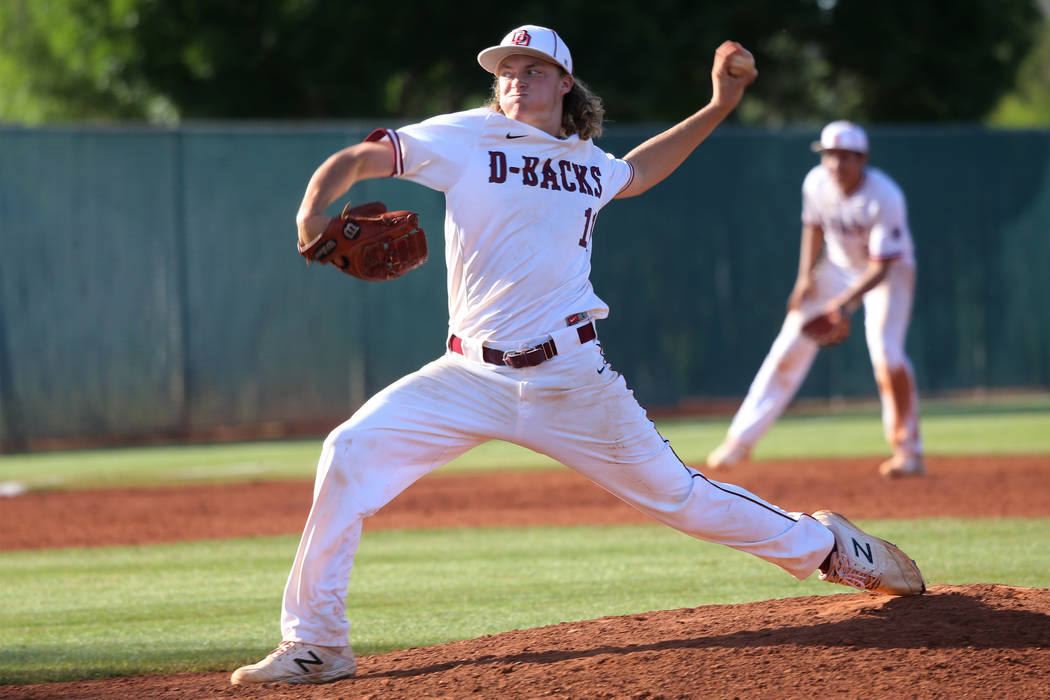 Desert Oasis' Josh Sharman (11) pitches against Basic in the Desert Region championship basebal ...