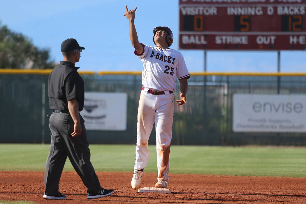 Desert Oasis' Aaron Roberts (25) reacts after hitting a double for a single RBI against Basic i ...