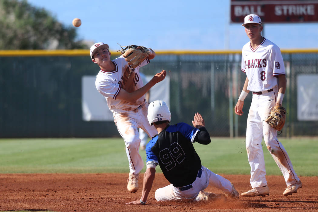 Desert Oasis' Zac Czerniawski (8) looks on as Colby Smith (10) throws to first base for a doubl ...