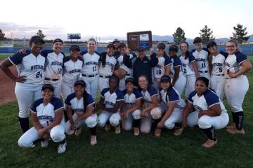 Shadow Ridge poses with the Mountain Region trophy after defeating Centennial, 3-2 in 11 inning ...