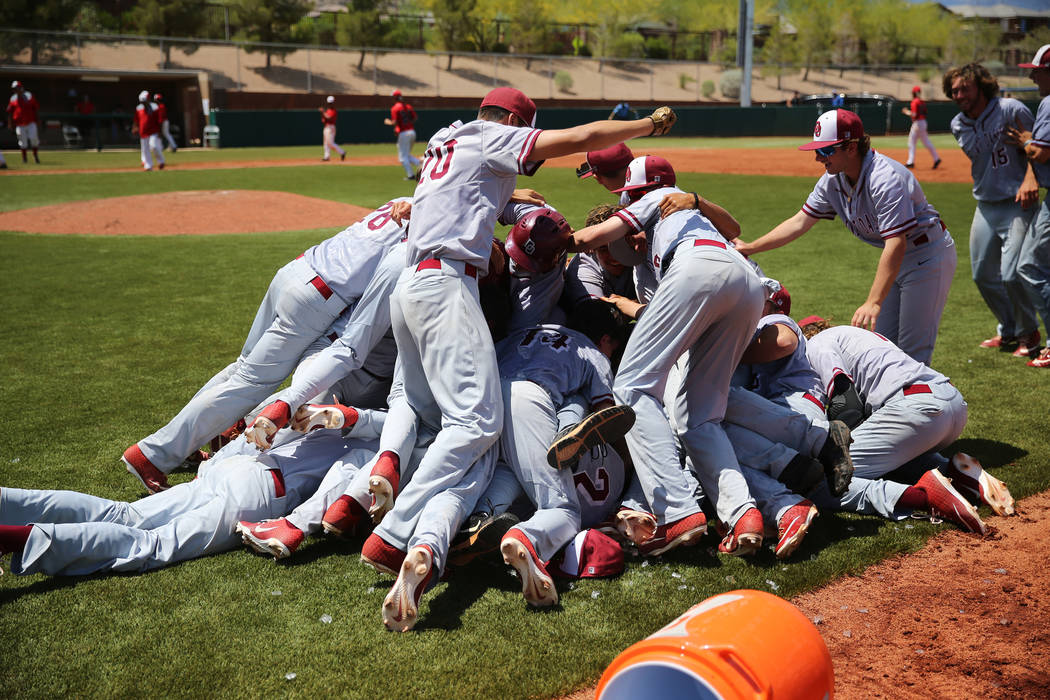 Desert Oasis celebrates their walkout win against Las Vegas in the Southern Nevada championship ...
