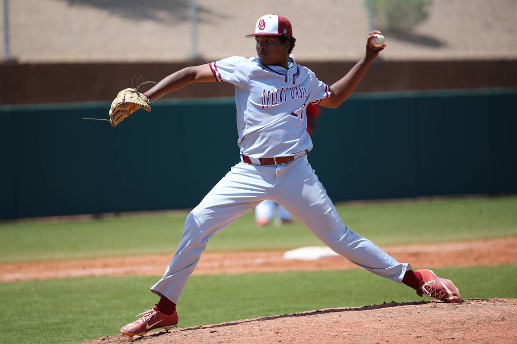 Desert Oasis' Jacob Walsh (21) pitches against Las Vegas in the Southern Nevada championship ga ...