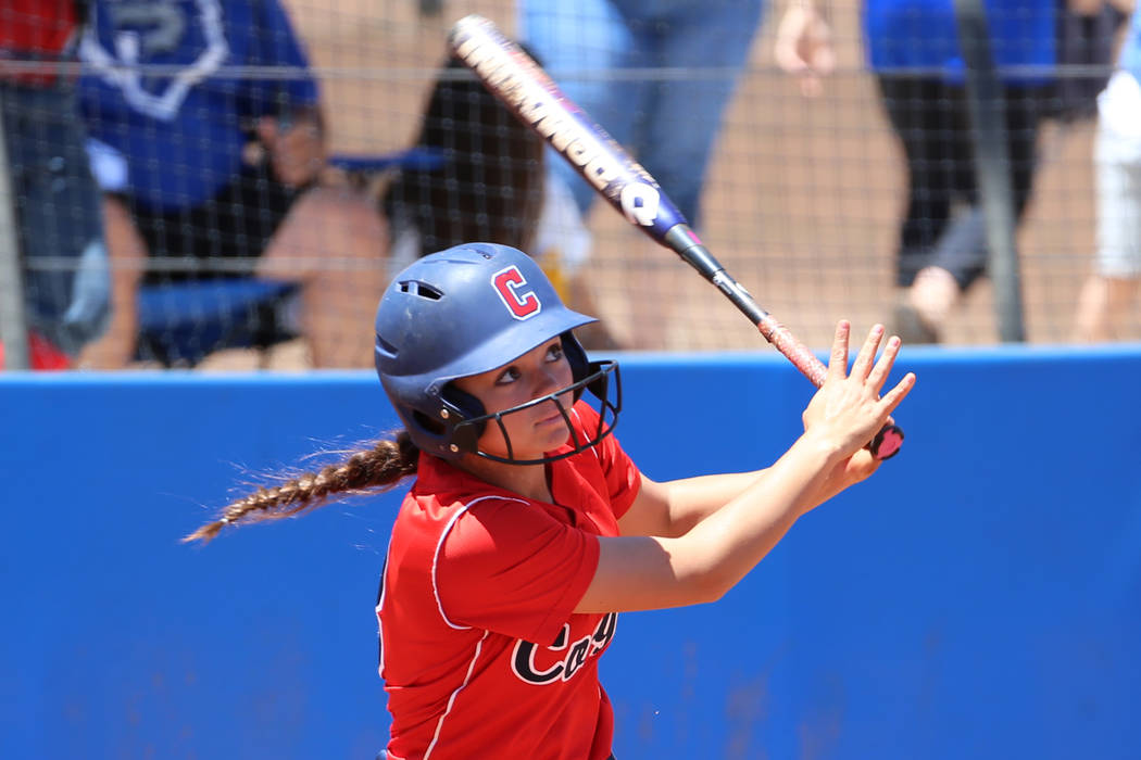 Coronado's Madison Stephens (8) hits a solo homer against Shadow Ridge in the Southern Nevada c ...